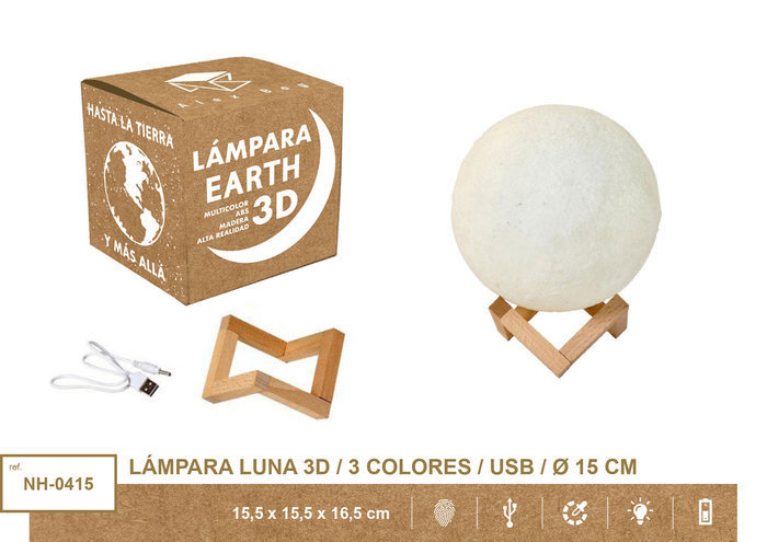 Lampara moon light 15 cms 3 colores usb