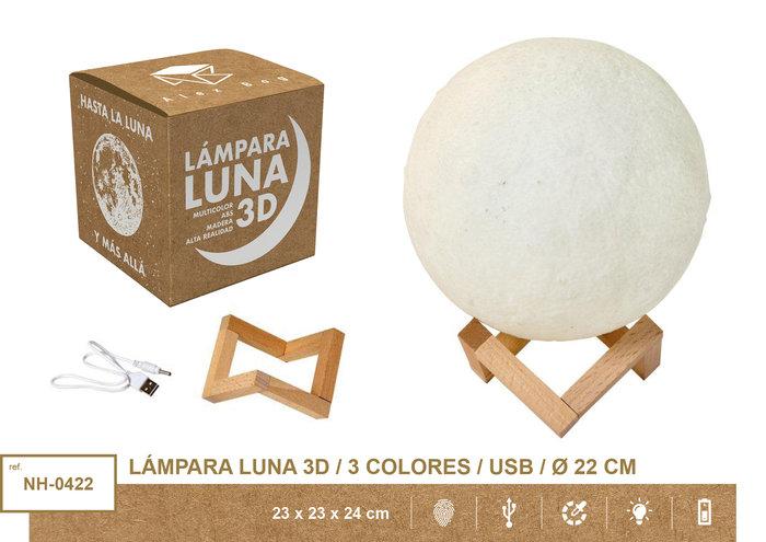 Lampara moon light 22 cms 3 colores usb