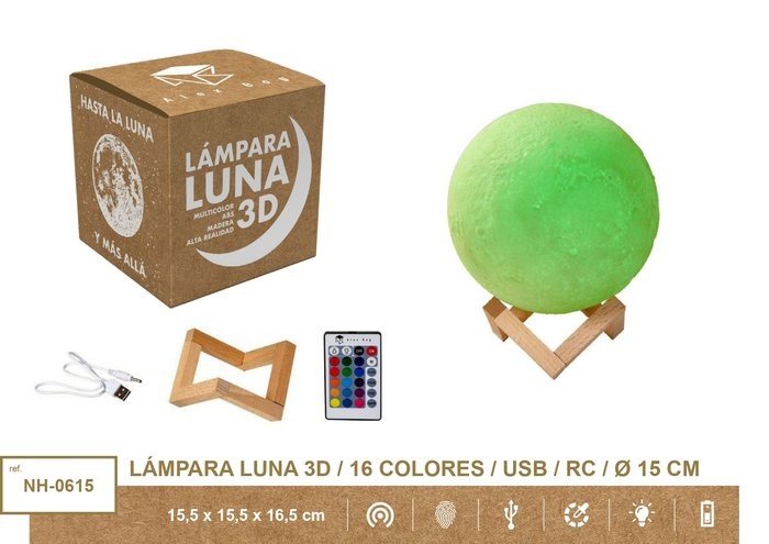 Lampara moon light 15 cms,16 colores usb + mando