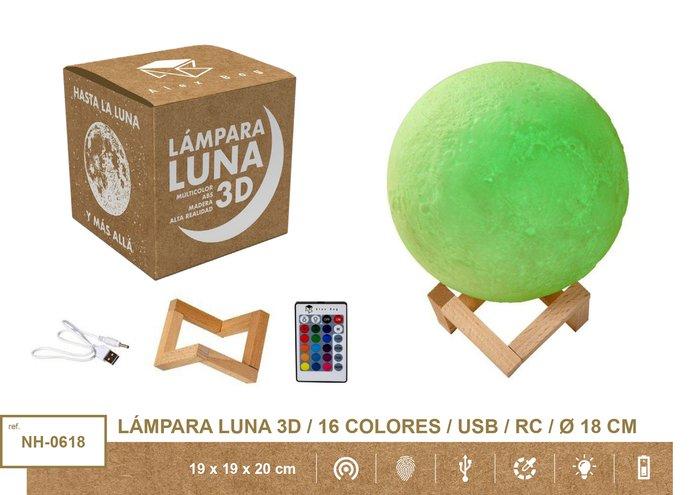 Lampara moon light 18 cms,16 colores usb + mando