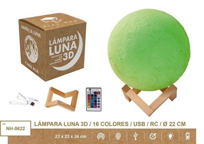 Lampara moon light 22 cms 16 colores usb + mando