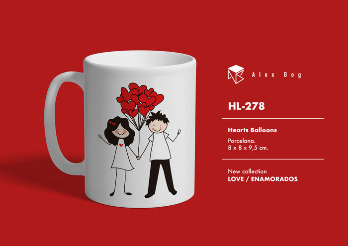 Taza emnamorados love with balloons