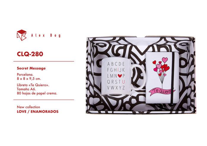 Conjunto libreta y taza love,alphabet of love