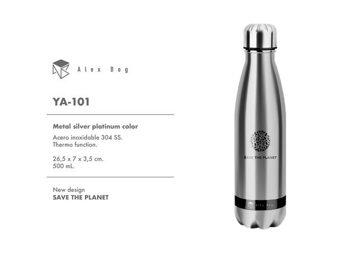 Botella acero inox 500 ml. silver platinum color