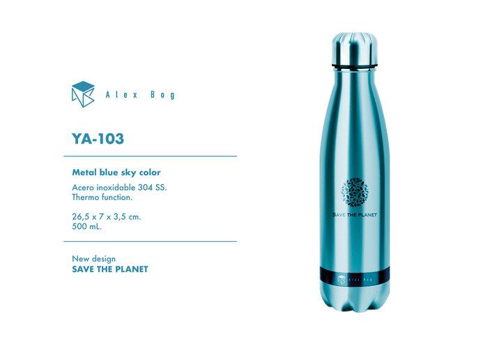 Botella acero inox 500 ml. blue sky color