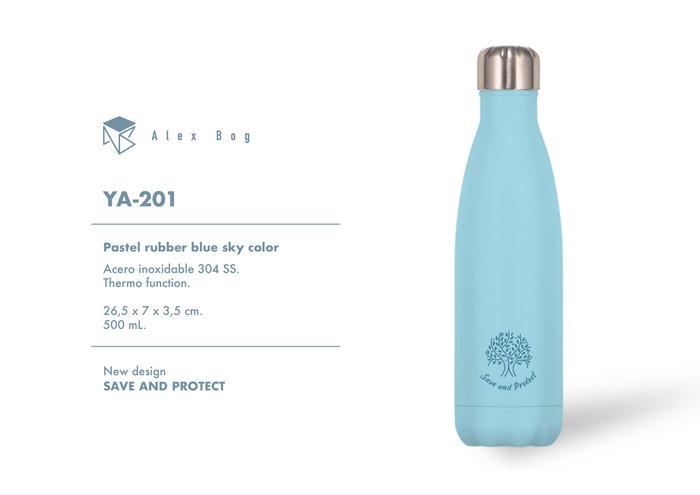 Botella acero inox 500 ml. pastel rubber blue sky