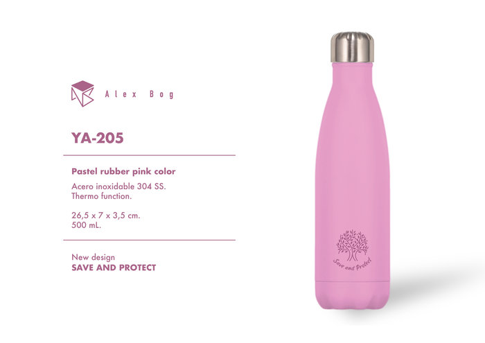 Botella acero inox 500 ml. pastel rubber pink