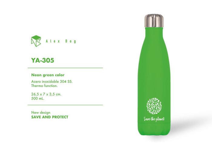 Botella acero inox 500 ml. neon green color