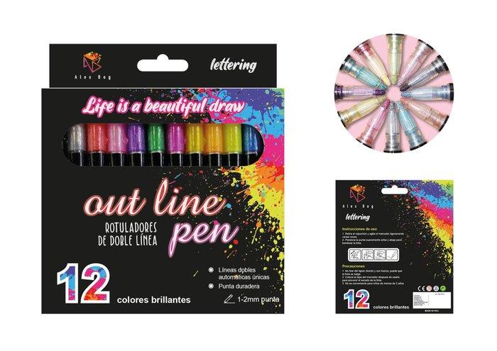 Set 12 rotuladores outliner bicolor neon pastel
