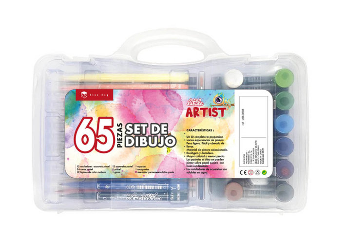 Maleta artistica studio transparente 65 piezas