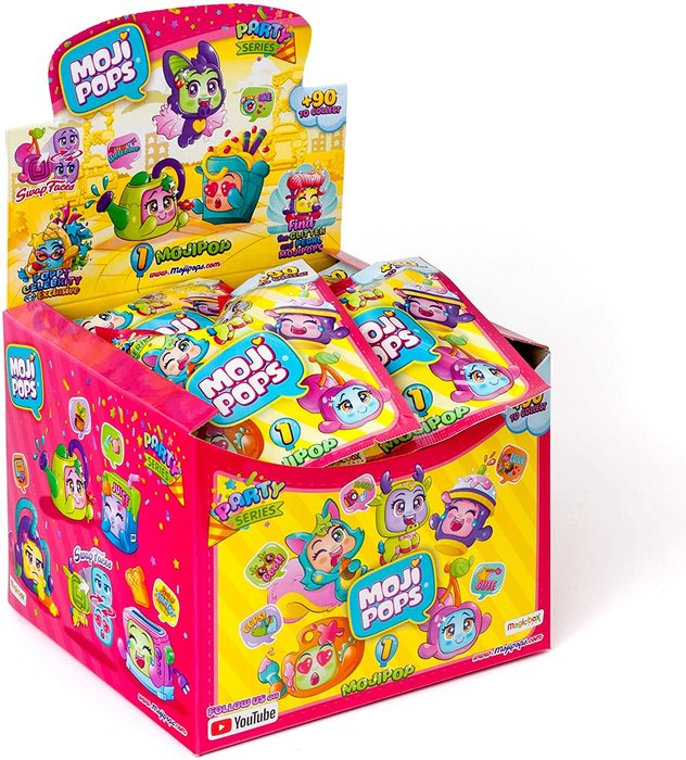 Mojipops party one pack display 24 sobres