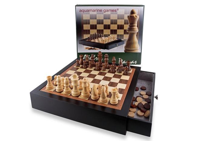 Juego mueble lacado ajedrez, damas negro