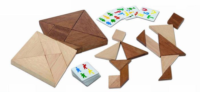 Juego tangram doble en madera color natural