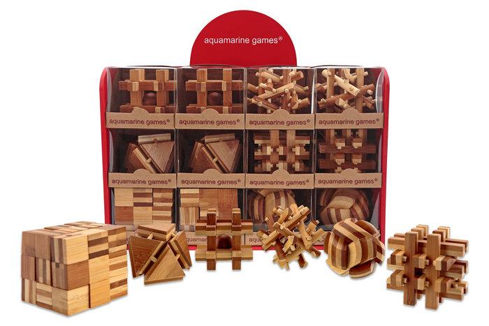 Expositor madera lacada 12 juegos bamboo puzzle