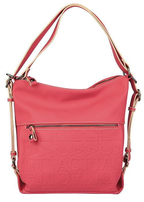 Bolso mochila con asa de mano y bolsillo delantero rojo oasi