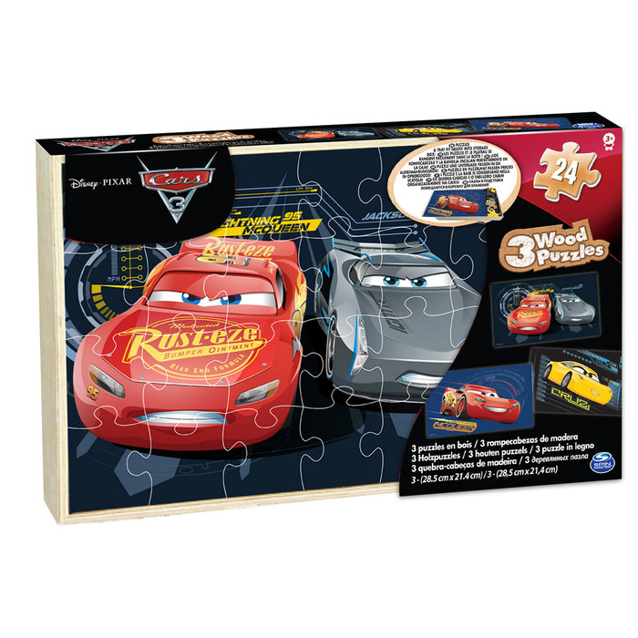 Puzzle madera cars pack 3 uds