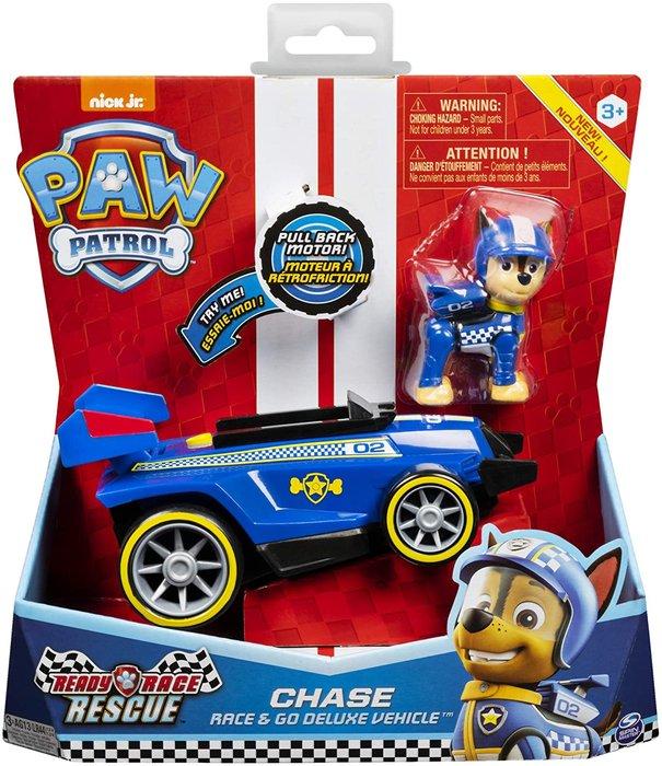 Paw patrol vehiculo y figura sonido race&go surt.
