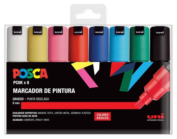 Marcadores uni posca pc8k estuche 8 colores basicos