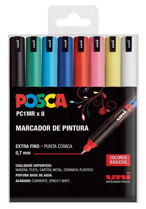 Marcadores uni posca pc1mr estuche 8 colores basicos