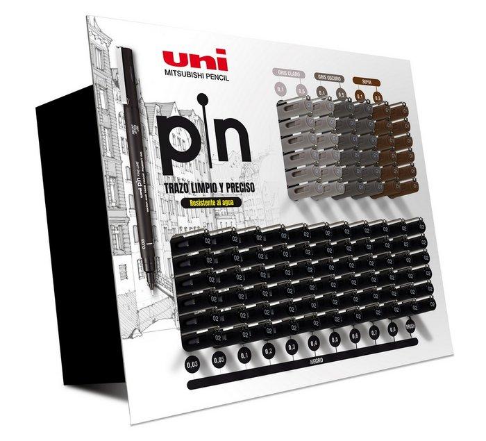 Rotuladores calibrados pin expositor 102 uds