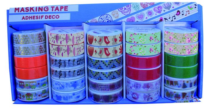 Expositor 30 cintas arroz adhesiva masking tape surtido