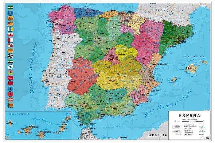 Poster mapa espaÑa fisico politico