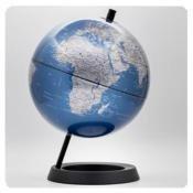 Esfera 20cm azul metalizado soporte plastico negro