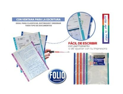 Funda multitaladro folio bolsa 10u borde colores surtidos