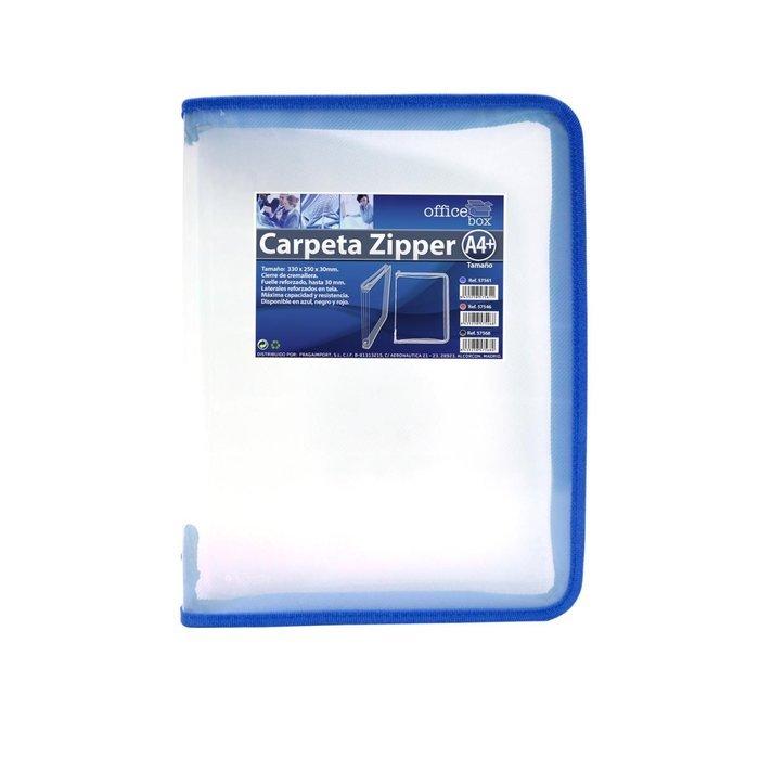 Carpeta a4 pp con cremallera zipper azul