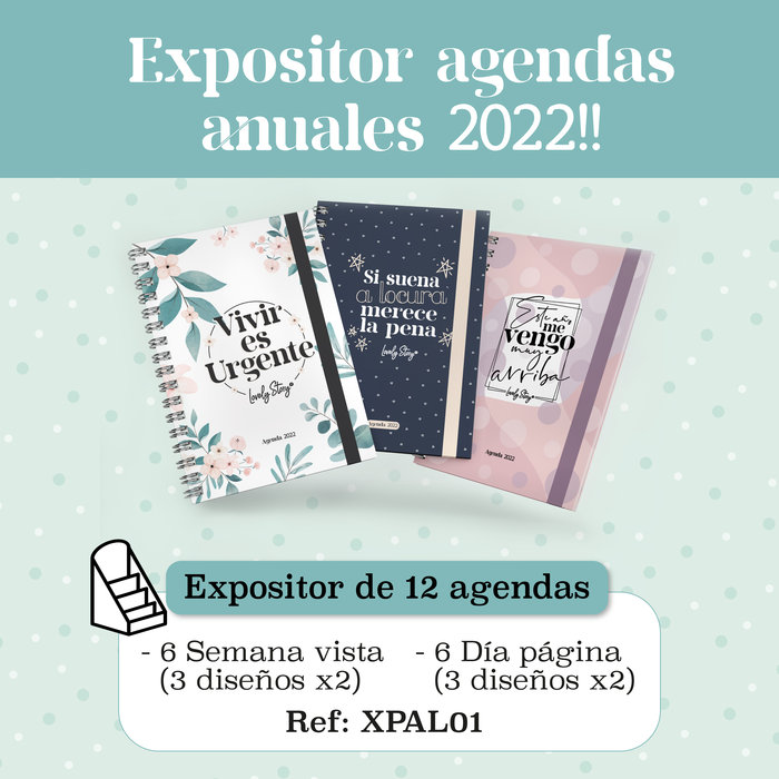 Expositor agenda anual lovely story 2022 6 diseÑos = 12 ud.