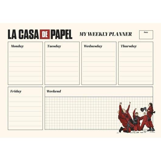 Bloc planificador semanal a4 la casa de papel