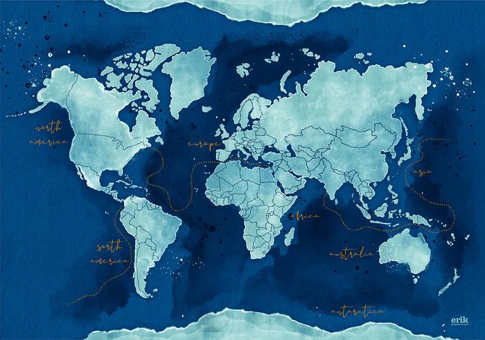 Vade escolar mapa de mundo acuarela
