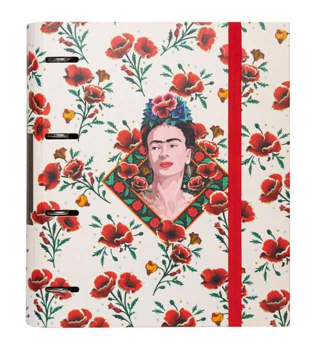 Carpeta 4 anillas troquelada premium frida kahlo flores