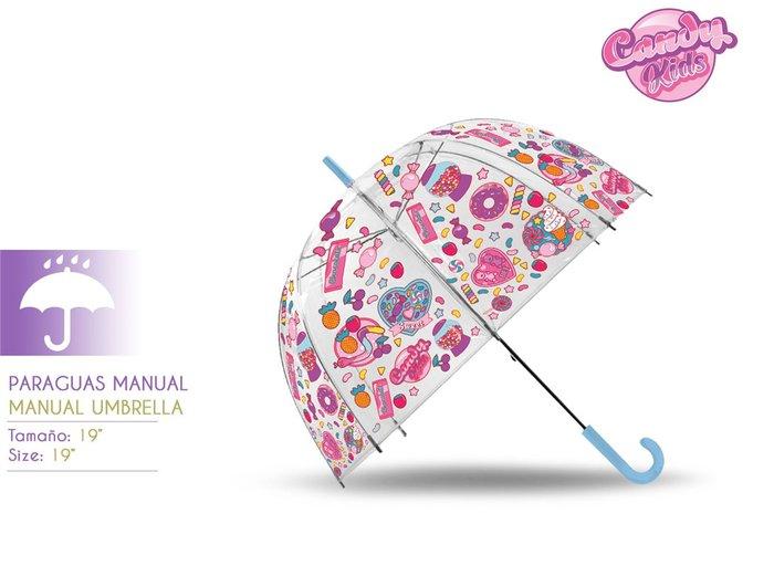 Paraguas transparente campana 19´´ manual candy