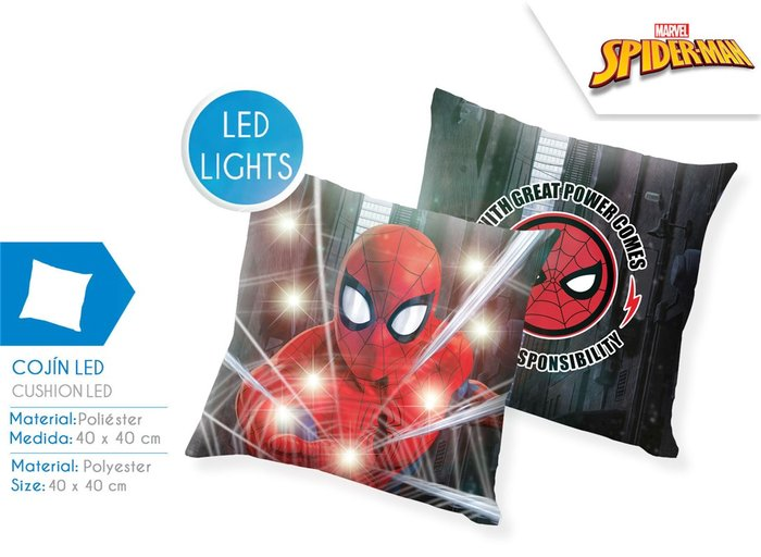 Cojin led 40x40 cm spiderman