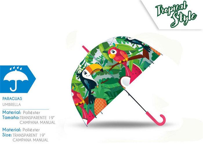 Paraguas transparente campana 19´´ manual tucan