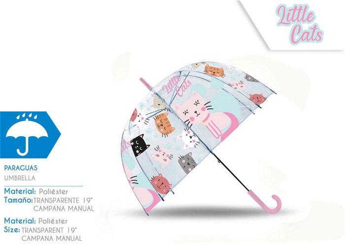 Paraguas transparente campana 19´´ manual little cats