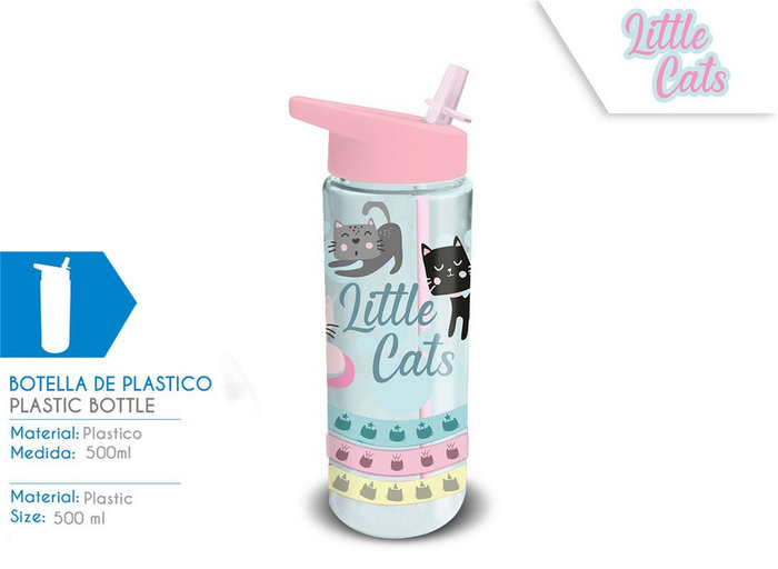 Botella de plastico 500ml little cats