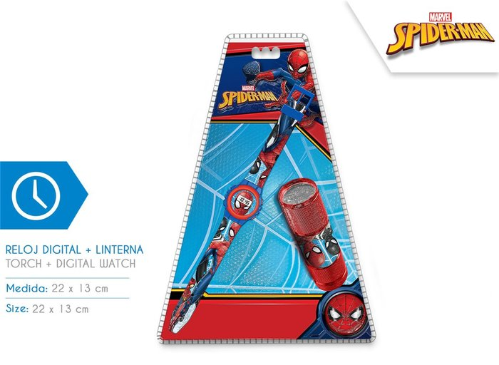 Reloj + linterna spiderman