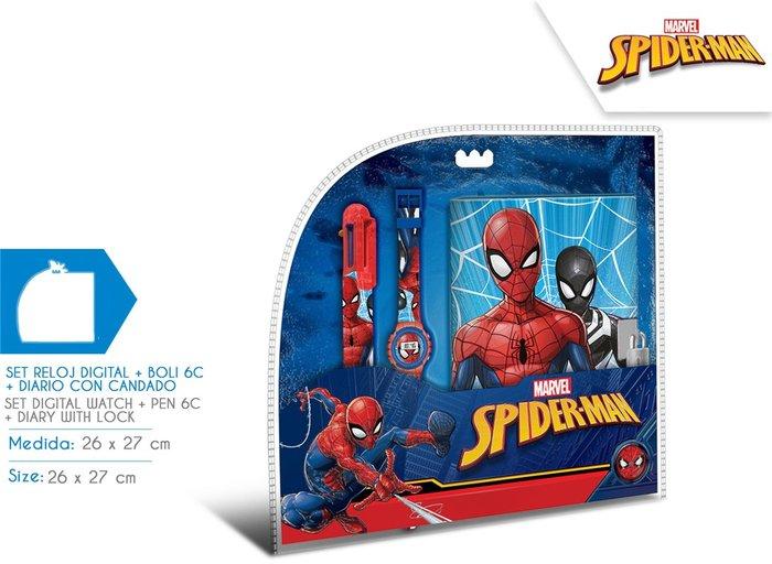 Reloj digital + boli 6c + diario secreto spiderman