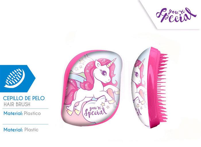 Cepillo de pelo sin mango caja acetato unicornio