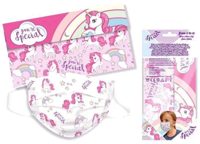 Pack 5 mascarillas infantil + estuche unicornio