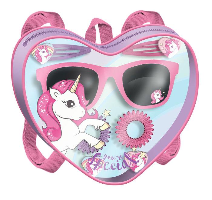 Mochilita corazon con gafas y acc. pelo unicornio