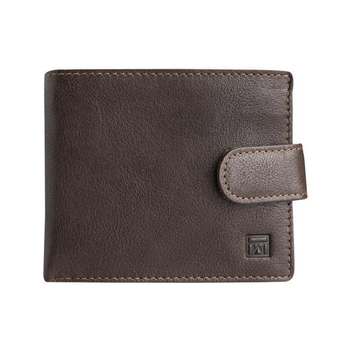 Billetero con broche wash leather marron