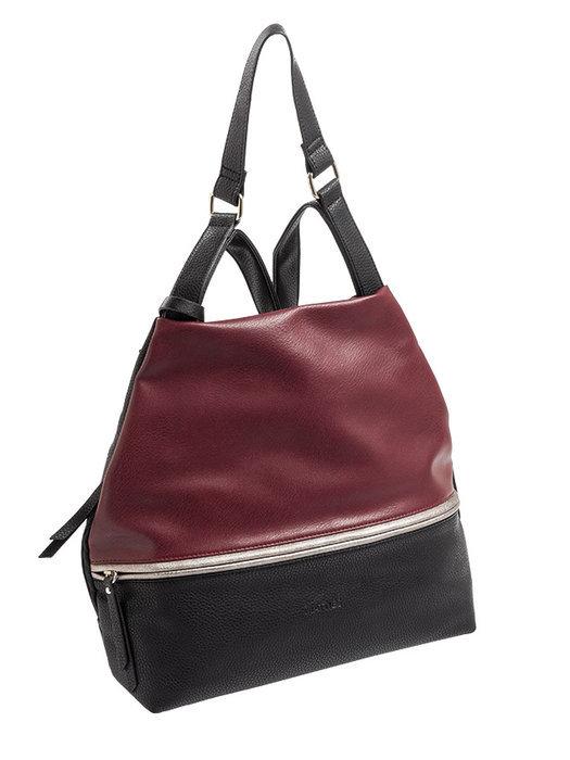 Bolso mochila con asa de colgar y bolsillo con cremallera e