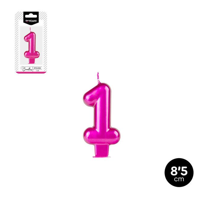 Vela numero 1 rosa metalizado 8,5cm