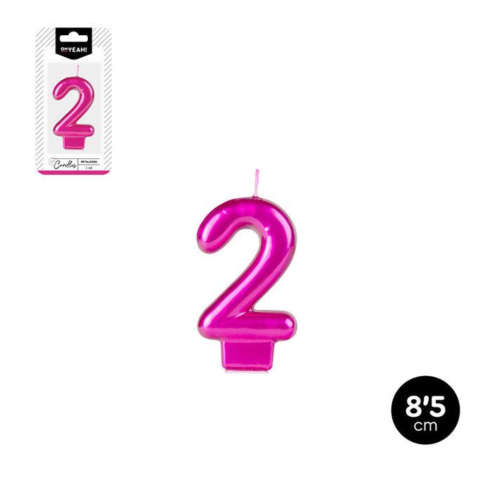 Vela numero 2 rosa metalizado 8,5cm