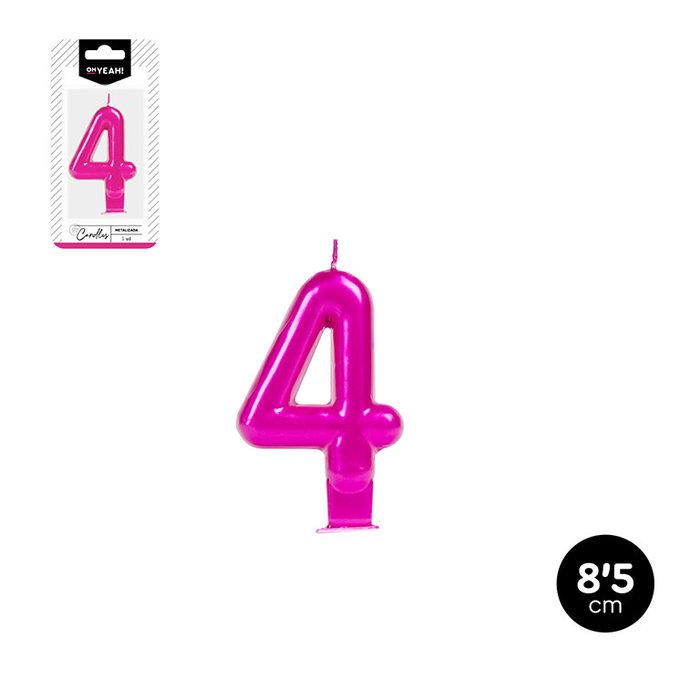 Vela numero 4 rosa metalizado 8,5cm