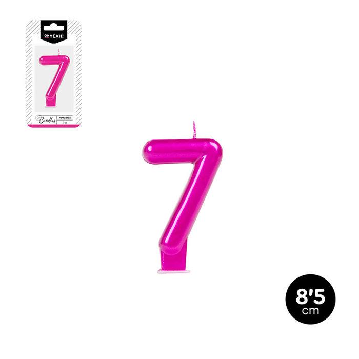Vela numero 7 rosa metalizado 8,5cm