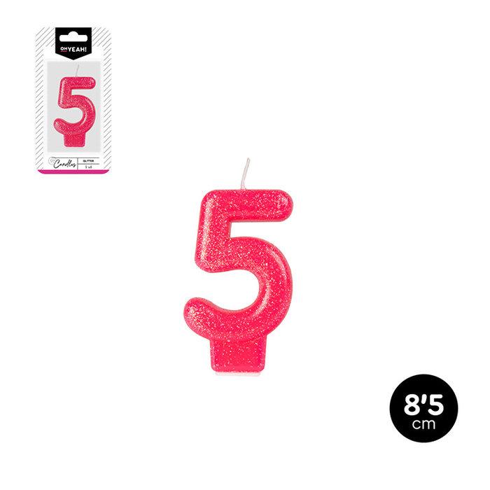Vela numero 5 glitter 5 colores surtidos 8,5cm